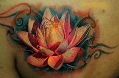 Beautiful realistic detailed lotus tattoo