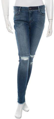 RtA Denim Distressed Skinny-Leg Jeans w/ Tags Skinny Legs, Distressed Jeans, Contrast, Tags, Denim, Stylish, Women, Fashion, Thin Legs