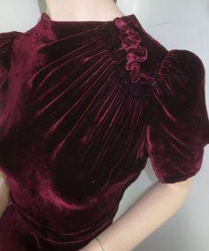Vintage 1940's Garnet Velvet Dress - Cut on The Bias