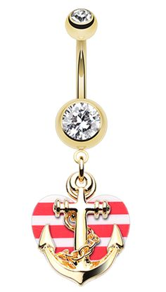 Golden Colored Anchor Nautical Heart Belly Button Ring
