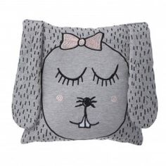 Rabbit cushion or toy. Made from soft organic jersey this super cute rabbit cushion by Ferm LIVING has beautiful embroidered detailing with her long eyelashes and pink cheeks and hair bow she is a cute and fun addition to any ch Playroom Furniture, Kids Furniture, Gris Rose, Front Door Colors, Modern Kids, Little Miss, Scandinavian Style, Pillow Design, Decoration