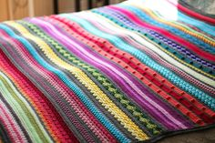 "Rainbow Sampler blanket, free pattern by Kirsten from Haak maar Raak!  Another mixed-stitch pattern, nice & solid, doesn't appear to have any lacy or open-type stitches. This one worked with 29 colors of Stylecraft Special DK yarn. Generous size, 71""x71"" (4516 yds); would probably use less yardage with worsted weight. Great pattern for stash-busting.  . . .  ღTrish W ~ http://www.pinterest.com/trishw/  . . . #crochet #afghan #throw #stripe"