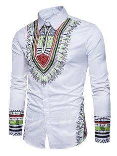 Lapel Ethnic Printed Totem Single-Breasted Slim Fit Men's Shirt