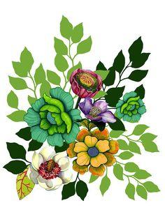 Design Floral, Textile Design, Framed Prints, Canvas Prints, Art Prints, Flowers Illustration, Rose Sketch, Design Digital, Botanical Flowers