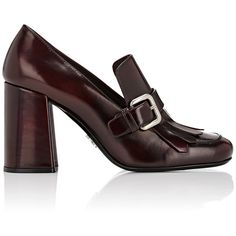 Prada Women's Buckled Kiltie Pumps ($790) ❤ liked on Polyvore featuring shoes, pumps, colorless, thick heel pumps, leather slip on shoes, leather slip-on shoes, slip-on loafers and prada shoes