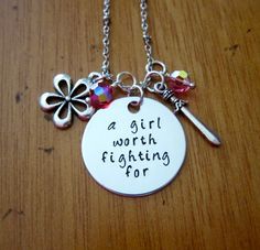 Mulan Inspired Necklace. A Girl Worth Fighting For. Silver colored  Swarovski Elements crystals for women or girls. Hand stamped. by WithLoveFromOC (item: 20158231317)