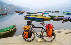 Full loaded touring bicycle