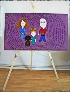 A DIY Upcycled canvas & Lyrical Family portrait how-to.a nice hubby gift =O) Gifts For Hubby, Diy Canvas, Project Yourself, Canvas Artwork, Family Portraits, Nest, Create Your Own, Upcycle, Diys