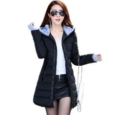 Womens Winter Jackets 2017 New Medium-Long Down Cotton Parka Plus Size Jacket Coat Slim Ladies Casual Clothing Navy and Black