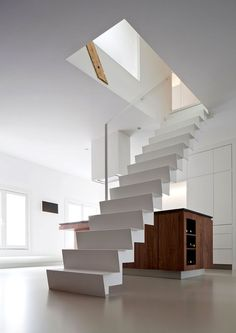 Apartments, Cool White Straight Stair With Glass Banister To Connect With Upper Floor Beside Wooden Countertop In The White Room Concept: Interior Design Ideas with Beautiful White Minimalist Decoration