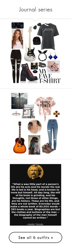 """""""Journal series"""" by freebird365 ❤ liked on Polyvore featuring And Finally, Topshop, Gucci, Ray-Ban, Sans Souci, River Island, ZiGiny, Baja East, Collections by Hayley and art"""