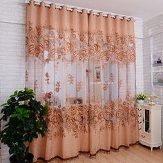 1 PC Embroidered Voile Curtains Bedroom Sheer Curtains for Living Room Tulle Window Curtains/Panels Window Screening Bedroom Drapes, Bedroom Balcony, Curtains Living, Kitchen Curtains, Bedroom Decor, Roman Curtains, Tulle Curtains, Floral Curtains, Door Curtains
