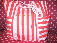 New Victoria's Secret Stripe Orange Pink White Beach Tote Weekender Swim Gym Bag | eBay