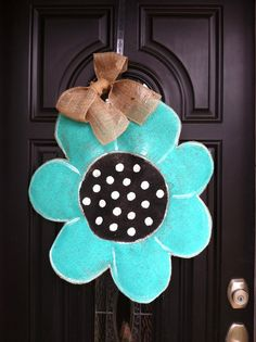 Teal Flower Burlap Door Hanger by ModernRusticGirl on Etsy, $36.00
