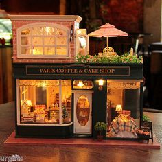 Dollhouse DIY Model Kit w/ Light France Paris Cafe Cake Coffee Store Bakery Shop