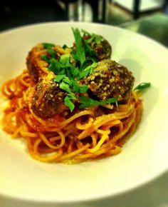 Spaghetti w wagyu meatballs at Culina Dempsey