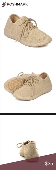 """Taupe Yeezy inspired flyknit sneaker IT'S OUR FAVORITE SNEAKERS DIPPED IN ENTIRELY THE SAME COLOR. FEATURING LACE-UP TIE CLOSURES, TEXTURED SOLES, AND AN ALL OVER MONOCHROMATIC COLOR. PERFECT FOR ALL YOUR ATHLEISURE OUTFITS WHEN YOU'RE ON THE GO.  MATERIAL: MADE MADE, LEATHERETTE   SOLE: SYNTHETIC.   MEASUREMENT: HEEL HEIGHT 1.25"""" (APPROX.)   FITTING: TRUE TO SIZE Shoes Sneakers"""