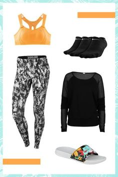 Since you'll be strapped into a safety belt, hanging by your knees from the bar, and likely to fall many a-time into the big safety net (phew!), be sure to fully cover up your arms and legs to avoid irritating exposed skin. Try a simple long-sleeve top and patterned, full-length leggings, plus punchy, comfy pool slides and soft socks for in between jumps. #refinery29 http://www.refinery29.com/best-outdoor-exercises#slide-4