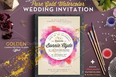 Pure Gold Watercolor Wedding Invite by The Wedding Shop on @creativemarket