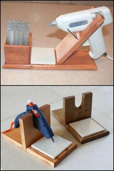 25 +> Keep your glue gun and workstation clean by using your own DIY glue gun holder ., Keep your glue gun and workstation clean by holding your own DIY glue gun holder . own # glue # glue gun. Antique Woodworking Tools, Woodworking Projects That Sell, Learn Woodworking, Popular Woodworking, Woodworking Crafts, Woodworking Plans, Woodworking Furniture, Woodworking Tutorials, Wood Furniture