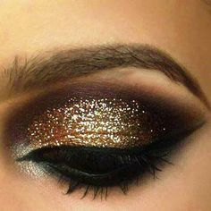 Brown and glitter gold makeup