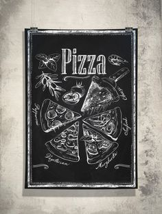 This piece of art features Chalkboard Kitchen Art is crafted for years of enjoyment. A custom made, unique Kitchen Chalkboard-Pizza slices.