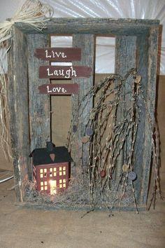 "Primitive Craft Ideas / ""Live, Laugh, Love"" crate ...   Primitive love"