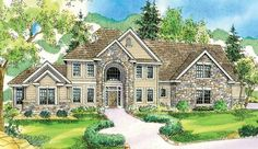 Elegant and spacious, this large European home plan is ideal for families that love to entertain. A dramatic staircase sweeps up the right side of the two-story foyer. Windows fill most of the rear wall of the two-story family room, which is fully open to the kitchen and boasts a handsome stone veneer fireplace.