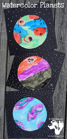 Watercolour planets art lessons space crafts for kids, space Space Crafts Preschool, Space Activities For Kids, Art Activities, Outer Space Crafts For Kids, Space Theme For Toddlers, Planets Preschool, Fun Crafts, Group Art Projects, Projects For Kids