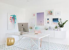 Want to transform your office into a light and airy, colorful space? Look no further for inspiration than Joy Cho's new workspace. The blogger and designer's executive office is all about whimsical prints and bold colors.