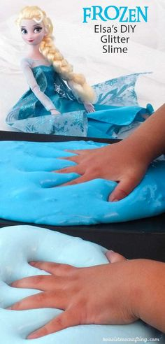 Frozen Elsa's DIY Glitter Slime - homemade GAK for a Frozen Birthday Party.  Easy to make and great for a party activity or as party favors for the kids. We have step by step directions on how to make it. Follow us for more fun Frozen Party Ideas.