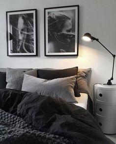 gray bedroom walls, gray bedroom design ideas you want … – cozy home warm Black And Grey Bedroom, Grey Bedroom With Pop Of Color, Grey Bedroom Design, Bedroom Colors, Home Decor Bedroom, Bedroom Designs, Bedroom Ideas, Bedroom Wall, Black Bedrooms