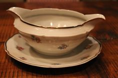 French Vintage Porcelain Gravy Boat with Gold trim and Flowers by frenchvintagetreasur on Etsy