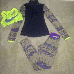 BUNDLE Nike pro set (3 Piece) 3 piece: pullover, thighs and sport bra, all Nike brand name, like new size XS can fit small too (nike shoes size us 6.5 $50 if you buy this post) Nike Pants Leggings
