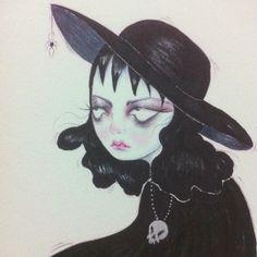 Lydia Deetz by Dark Town Sally Arte Grunge, Kunst Inspo, Art Inspo, Art Sketches, Art Drawings, Indie Drawings, Arte Lowbrow, Kunst Tattoos, Art Tattoos