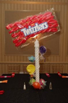 Using cut pool noodlesA Mitzvah Mom Creates Her Own Candy Centerpieces Gingerbread Christmas Decor, Candy Land Christmas, Candy Christmas Decorations, Balloon Decorations, Christmas Crafts, Candy Land Decorations, Quince Decorations, Candy Themed Party, Candy Land Theme