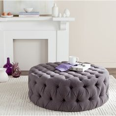 SIGNAL HILLS Knightsbridge Round Tufted Cocktail Ottoman with Casters | Overstock.com Shopping - The Best Deals on Coffee, Sofa & End Tables