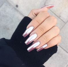 #chrome nail art rose gold | manicure swatch designs and ideas for winter and DIY | easy and simple for beginners | gel polish | acrylic