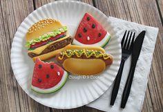 Picnic, Hamburger, Hot Dog Cookies | Clough'D 9 Cookies