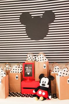 Mickey bag favors from a Classic Mickey Mouse Birthday Party on Kara's Party Ideas   KarasPartyIdeas.com (9)
