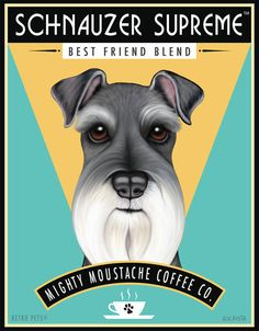 Schnauzer Art  Schnauzer Coffee  8x10 art by RetroPetsGallery, $20.00