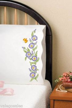 Tobin Stamped #Embroidery MORNING GLORIES #Pillowcases ♥ #ebay #sale #flowers #gift #home #bedroom #bedding #linen #DIY #create #project #handcraft #handmade #needlework #stitching