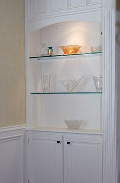 glass shelves for dining room built ins - Dining Room Built Ins