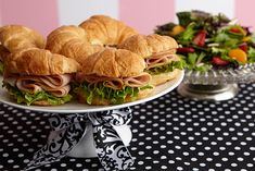 Our lovely option for lunch is a simple pairing of easy croissant sandwiches and a salad tossed with fruit.