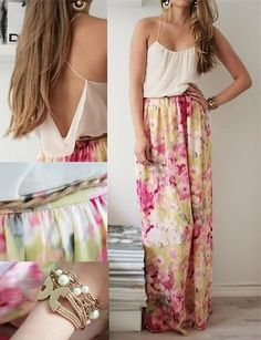 Spring/summer outfit. long skirt and loose top.  I don't know if I can make this look good though!
