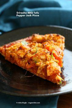 #Vegan BBQ Tofu Pepper Jack Cheese Pizza