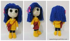 Amigurumi To Go: Coraline Doll Revised and Improved 2013 Free crochet pattern. Crochet Gratis, Crochet Doll Pattern, Crochet Patterns Amigurumi, Amigurumi Doll, Crochet Dolls, Free Crochet, Crocheted Toys, Crocheting Patterns, Easy Crochet