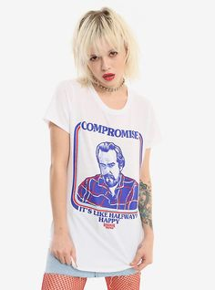 Hot Topic : Stranger Things Hopper Compromise Girls T-Shirt Fashion Wear, Emo Fashion, Stranger Things Merchandise, Eleven Stranger Things, Christmas Mom, White Tees, Cool Shirts, Awesome Shirts, Red And Blue