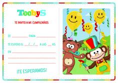 Tarjeta invitación #Toobys. #Cumpleaños. #FiestasInfantiles #Kitdecumpleaños