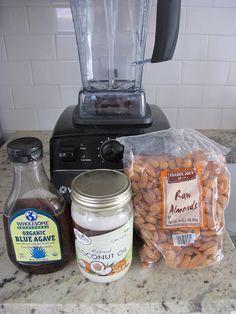 Homemade Almond Butter    1 lb. almonds   1 tbsp. coconut oil  1 tbsp. agave nectar  a pinch of salt